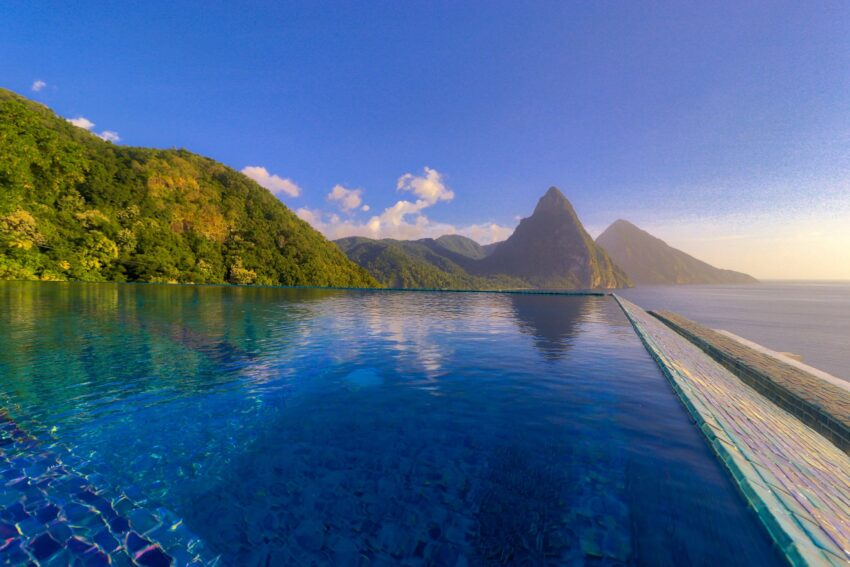 Caille Blanc Villa infinity pool with Pitons in St Lucia