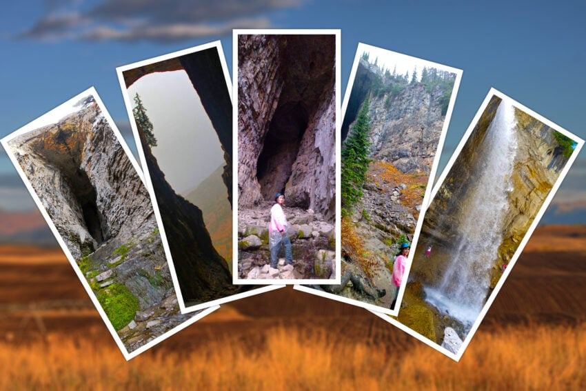Pictures of Darby Wind Cave, Wyoming near Idaho, with waterfall