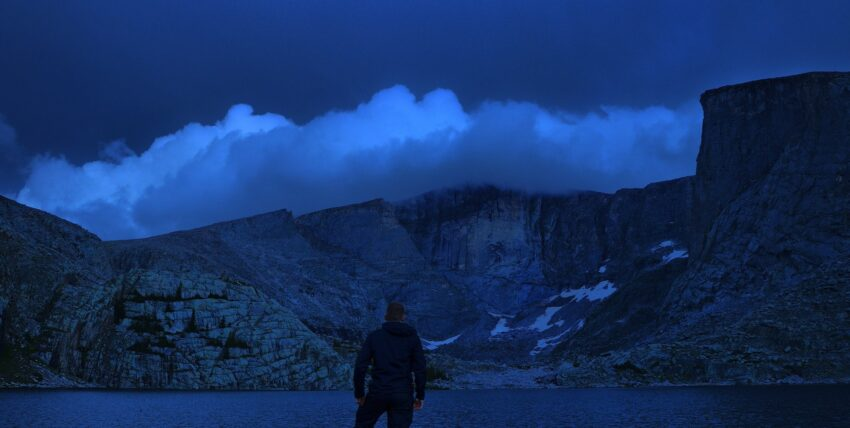 Lucas Necessary in Cloud Peak Wilderness at night. Lost Twin Lakes, WY.