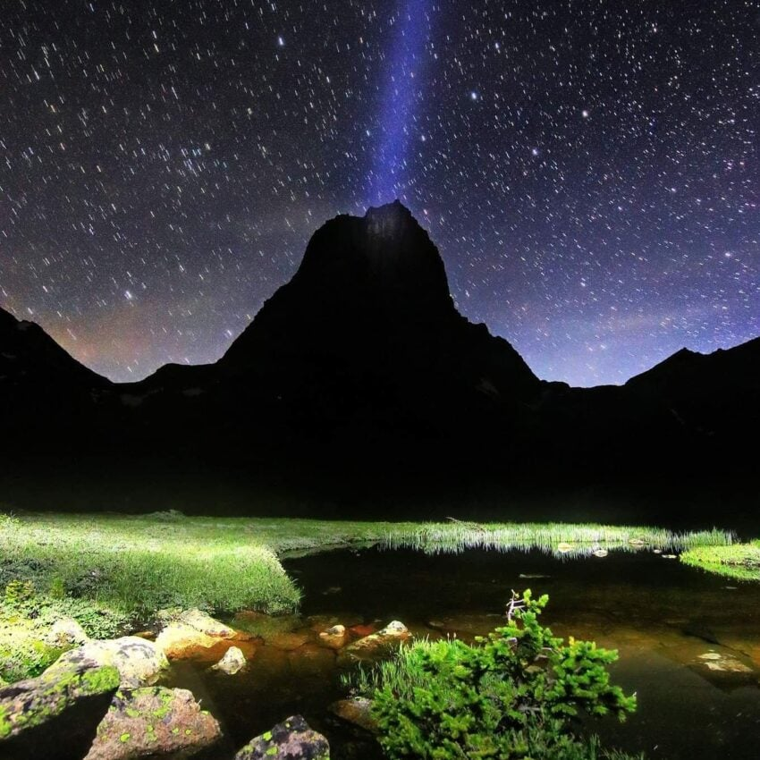 Cathedral Lake, Wyoming at night.