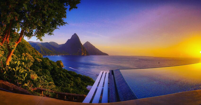 Caille Blanc Villa sunset with infinity pool and Pitons.