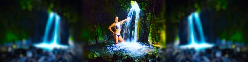 goldbug hot springs idaho with pretty chilean girl in bikini under waterfall