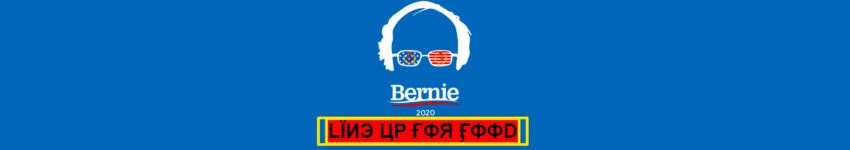 bernie sanders campaign logo 2020 line up for food bright bernie 16 x 4 banner massive