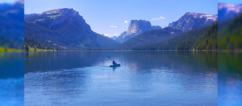 kayaking green river lakes artistic background image