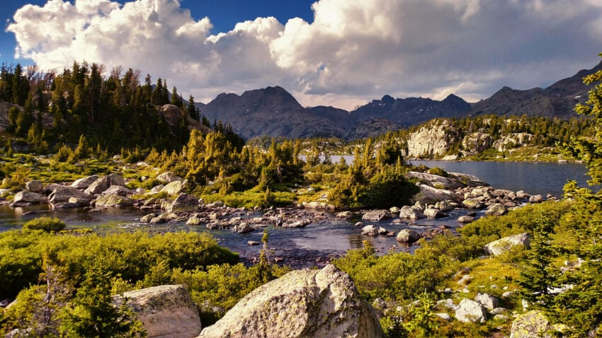 Lower Cook Lakes, Wyoming in summer