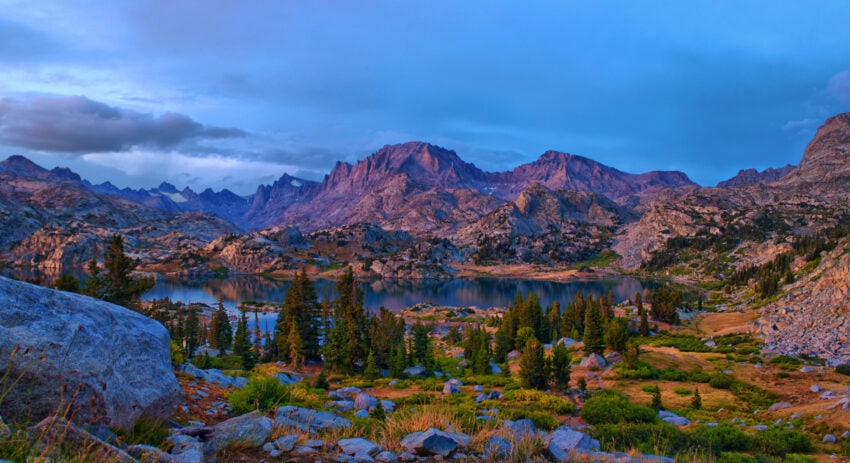 Island Lake, Wyoming at sunset after the storms.