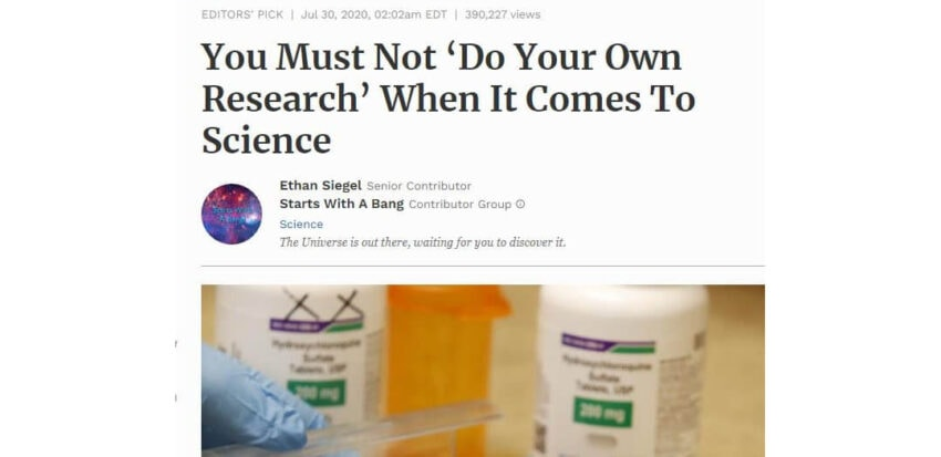 you must not do your own research when it comes to science
