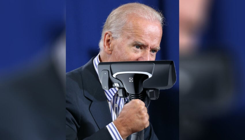 joe biden nose caught in vacuum