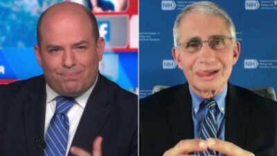 dr fauci licking lips with brian stelter, everyone's favorite little piggy